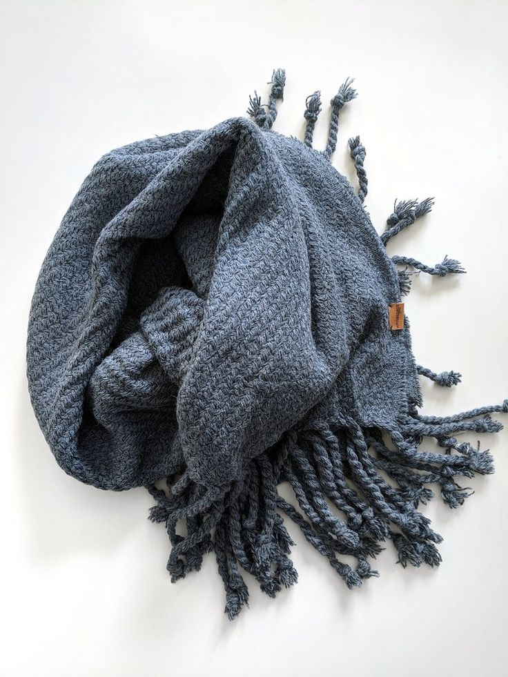 Blue Twisted Tassel Blanket Scarf