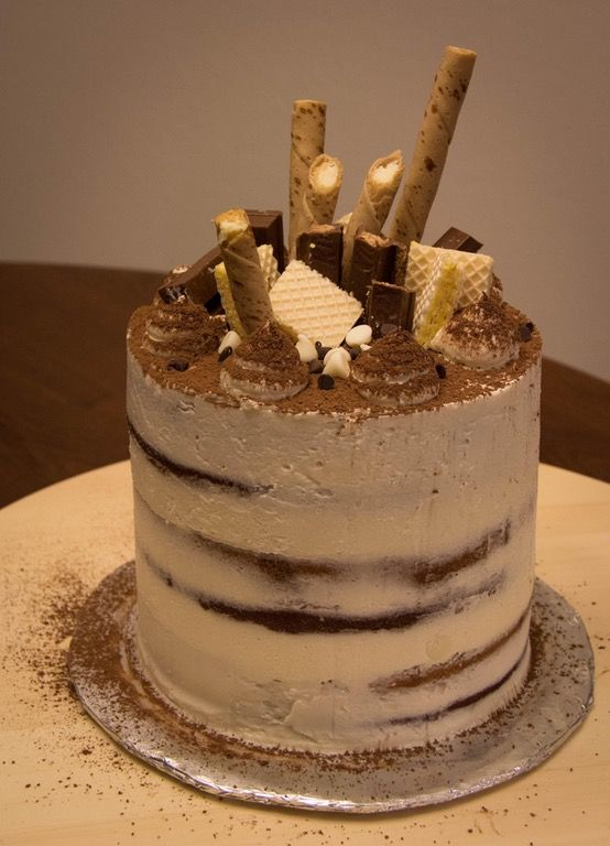 Tiramisu Cake: vanilla cake soaked with espresso rum syrup, filled with mascarpone custard, frosted with Italian meringue mascarpone buttercream. First semi-naked cake I've attempted! : Baking