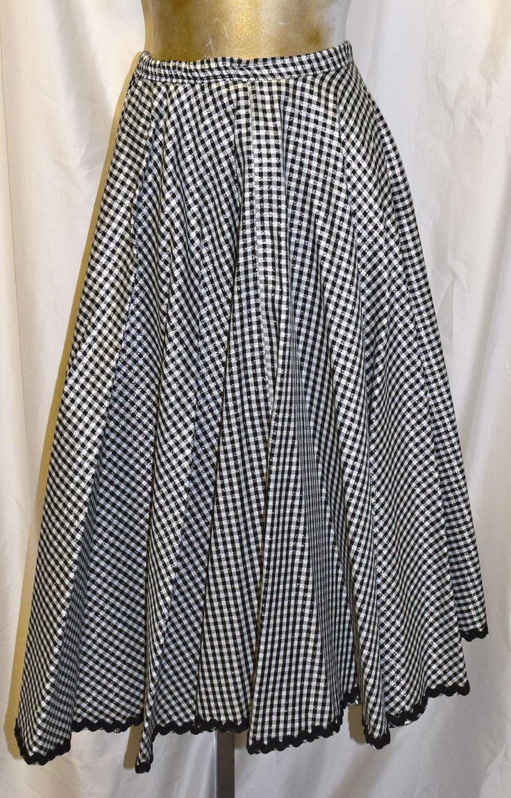 Vintage Black & White Checker Formal Skirt