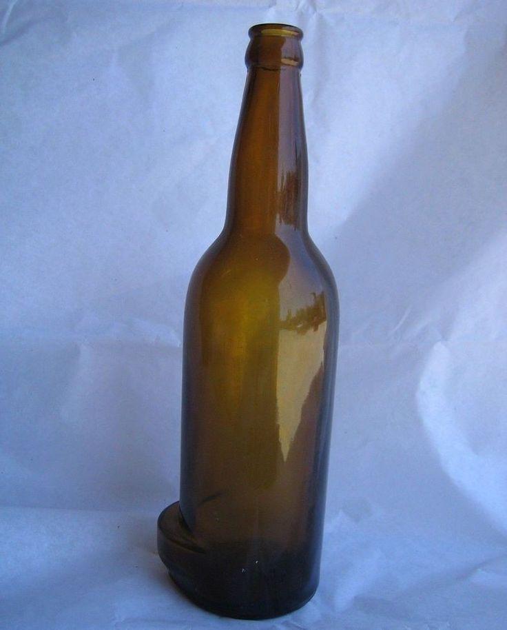 Vtg unique odd rare brown blown glass bottle lip for How to break bottom of glass bottle