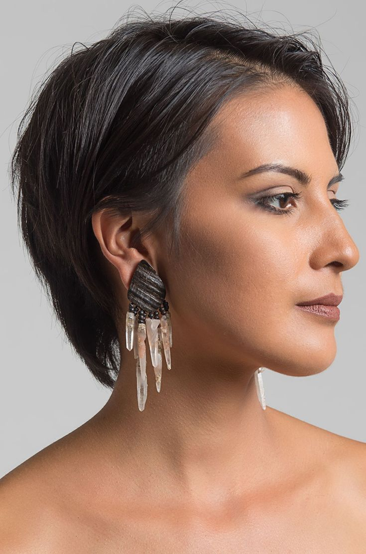 $975.00 | Monies UNIQUE Mountain Crystal, Horn & Ebony Clip On Earrings | Monies jewelry is bold in design and strong in aesthetic. This Monies necklace is made with Mountain Crystal, Horn, Ebony, and Sterling Sliver, to become a pair of unique statement pieces. All pieces are handmade. Monies is sold online and in-store at Santa Fe Dry Goods & Workshop in Santa Fe, New Mexico.