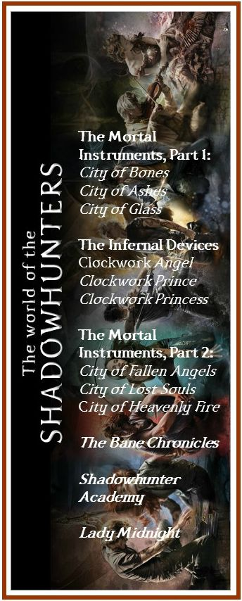 "To celebrate Lady Midnight being released on Tuesday, I (Suzanne Wirth) created this bookmark (dark version) to remind myself of the order that Cassandra Clare recommends reading her books. And I plan on rereading all, in this order, when I own The Shadowhunter Academy in a single volume. Feel free to print and use as a bookmark for yourself. I even used ""Shadowhunter"" font! :) #mortal #instruments #cassandra #clare #jace #clary #infernal #devices"
