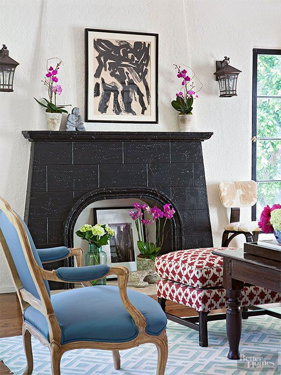 Tired and worn fireplace fronts can make the rest of any carefully coordinated room feel outdated. But a new fireplace front isn't terribly difficult or expensive. Most brick will take a coat of paint fairly well, and off-the-shelf tiles can cover a fireplace face, too. Make sure any materials are fire-resistant and are up to your municipality's code./