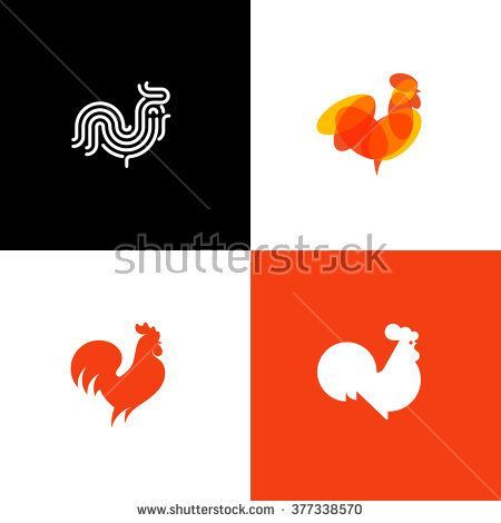 Rooster and cock. Flat design style vector illustrations set of ...
