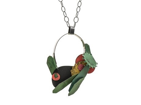 'Hydrangea necklace' by Yuko Fujita Oxidised sterling silver, paint Available online and in store http://egetal.com.au/store/product/YUK629