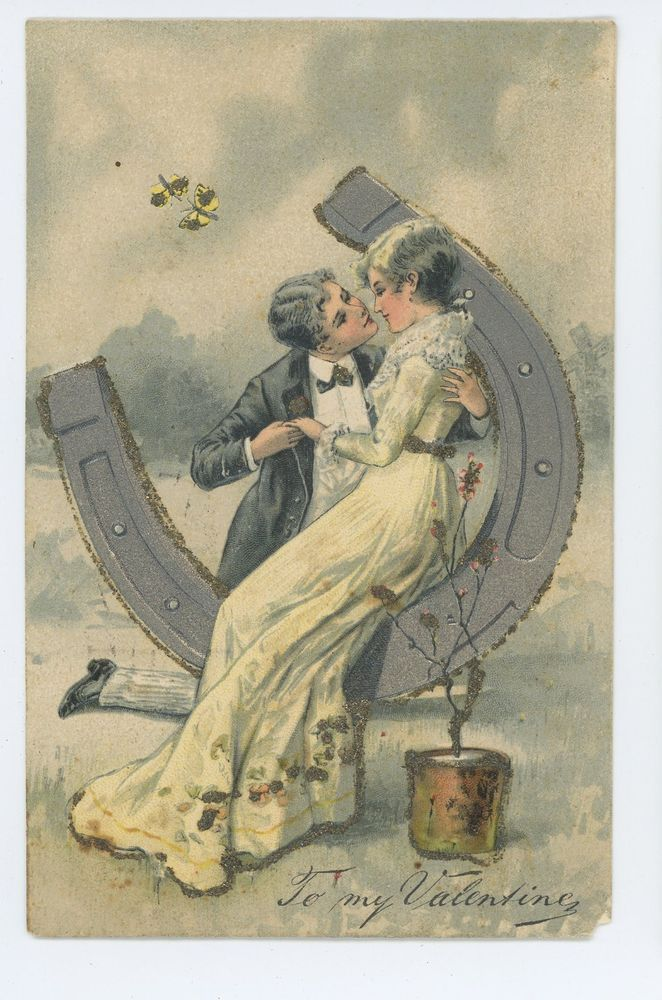 Romantic Couple on Horseshoe, To My Valentine, Valentine's Day Vintage Postcard #ValentinesDay