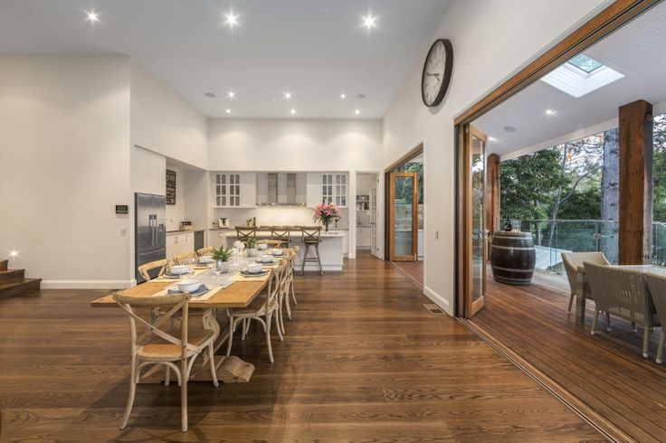 Dining Room, Kitchen and Alfresco Area, Contemporary Weatherboard on a Sloping Block