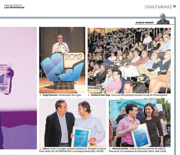 Reportaje de prensa en la edición impresa del Periódico Las Provincias en la entrega del premio a FAQcar.com ganador como mejor web por votación del público.