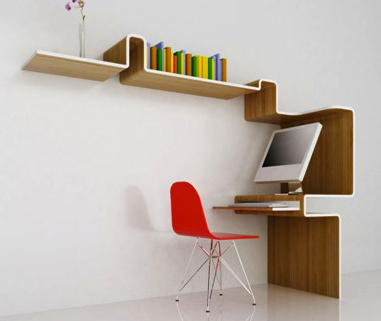 in love with this all-in-one workstation by  MisoSoupDesign!!: Bookshelf Design, Work Stations, Study Spaces, Workstations, Spaces Saving, Book Shelves, Desks Spaces, Reading Activities, Creative Bookshelves