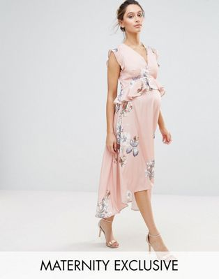 7a89782d539 Hope  amp  Ivy Maternity Bird Print Hi Lo Midi Dress Pregnancy Outfits