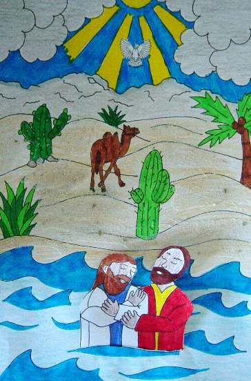 Knutselwerkje bij de Bijbel: Johannes de Doper doopt Jezus