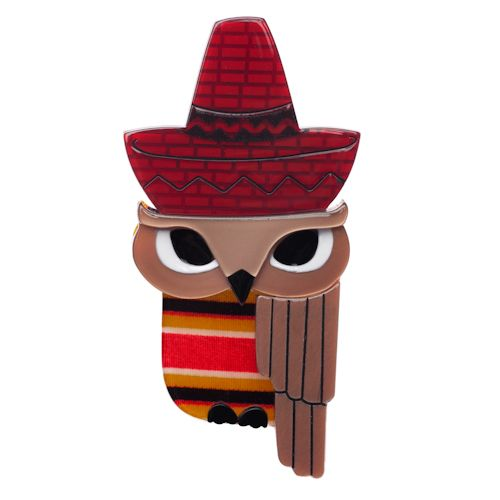 Limited edition, original Erstwilder Senor Sombrero brooch in red. Designed by Louisa Camille Melbourne. $29.95
