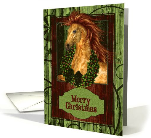 Beautiful golden colored horse with barn wood and a Christmas wreath for a great western themed holiday card for the country western minded. Original Design Doreen Erhardt©2013 and the St. George Salon of Art, LLC.