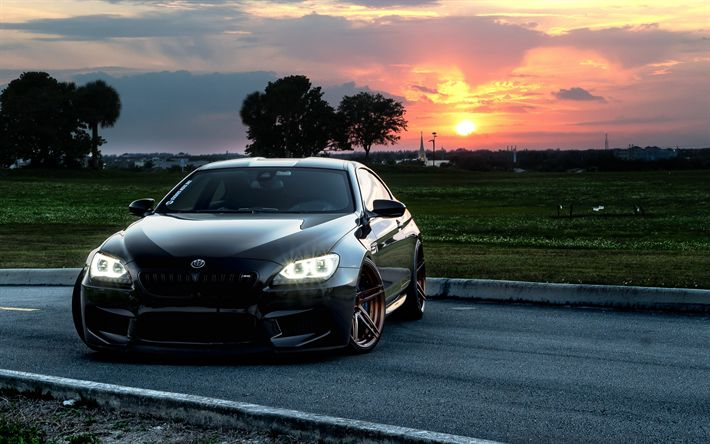 Download wallpapers BMW 6, F13, black sports coupe, tuning, bronze wheels, low-profile tires, BMW