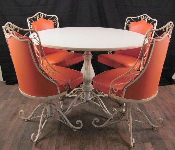 vintage mid century modern salterini woodard wrought iron metal patio table chair set 1950s dinette outdoor - Modern Iron Patio Furniture
