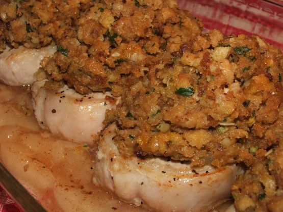This is my fiances FAVORITE, well one of them at least! EASY to make and to DIE for! Pork chops baked over apple pie filling topped with stuffing?? OH YEAH, its good stuff maynard!