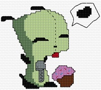 Invader Zim – Gir with Cupcake « Whistling Doe Patterns