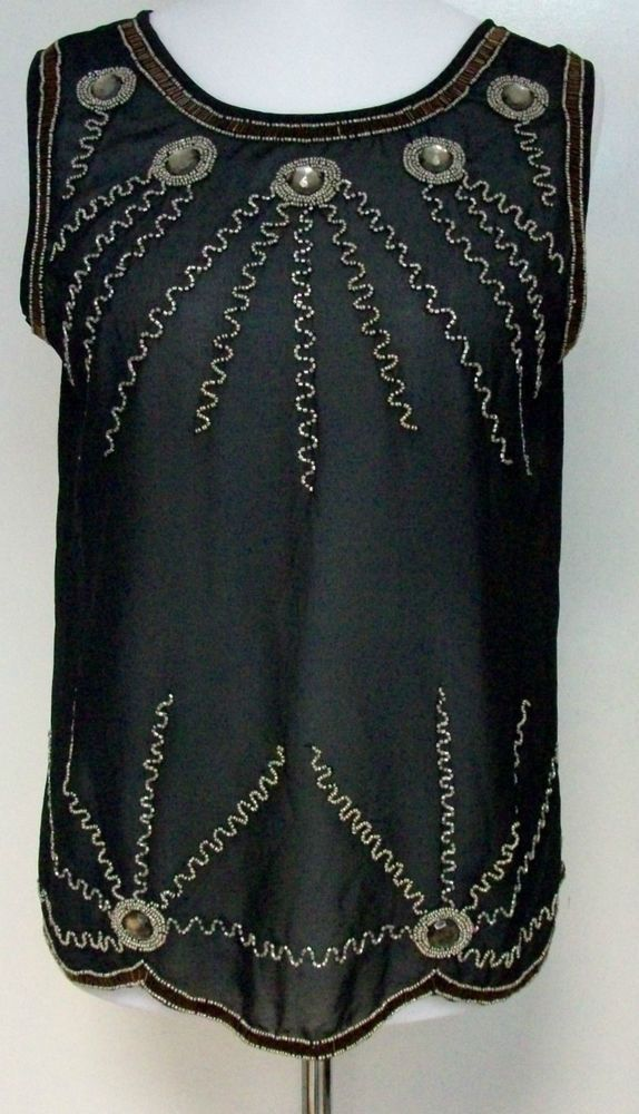 921202d5716 Petals Sheer Black Sequin Vest Ladies Gems Delicate Size 14 SALEs AA 12   fashion  clothing  shoes  accessories  womensclothing  tops (ebay link)
