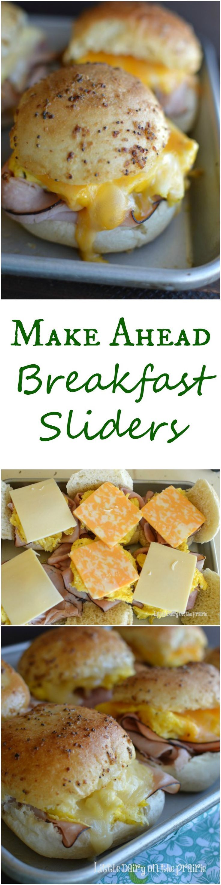 Make Ahead Breakfast Sliders all slathered in melted mustard butter, packed with gooey melted cheese sandwiched between a toasty roll is irresistible! I love make ahead breakfast that's can easily be package for an on the go breakfast too!: