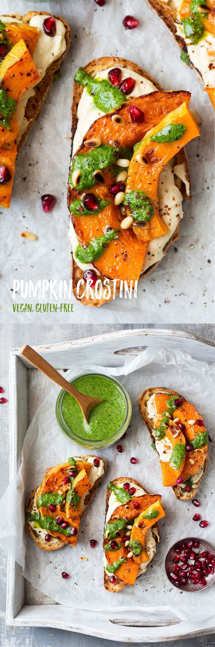 This #easy #pumpkin #crostini makes a great #lunch or #snack. It's #vegan and can be #glutenfree. #recipe #recipes #sandwich #hummus #pesto