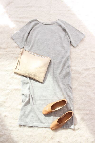 Lauren Manoogian Tall Tee Dress Grey Flax