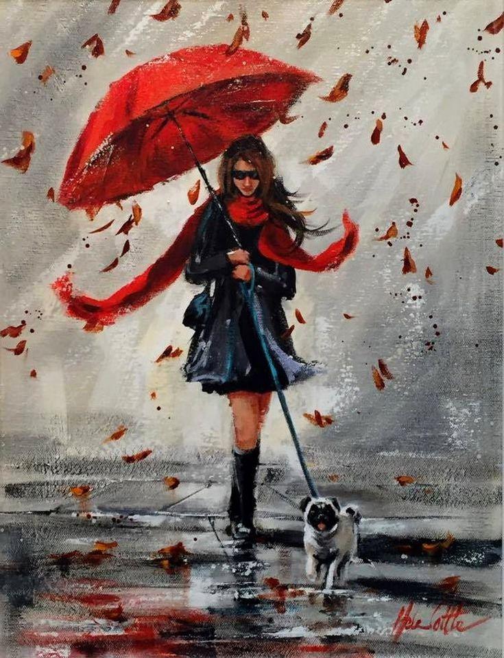 Картинки, открытки девушка под зонтом