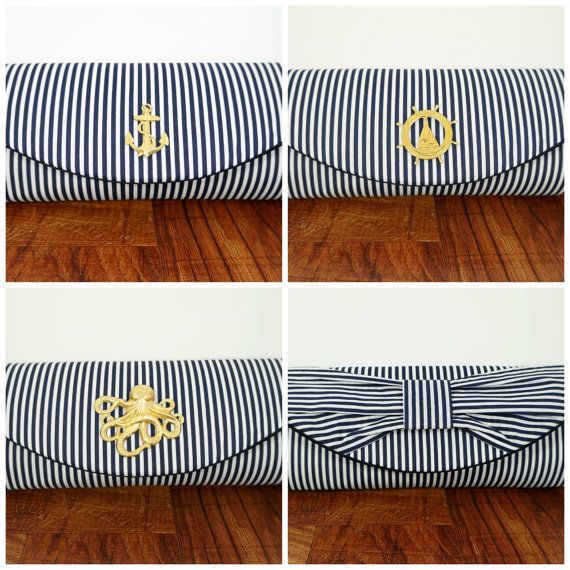 Nautical clutch navy blue clutch purse with gold or by toriska