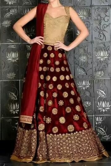 @Nivetas Red Bridal Lehenga in velvet