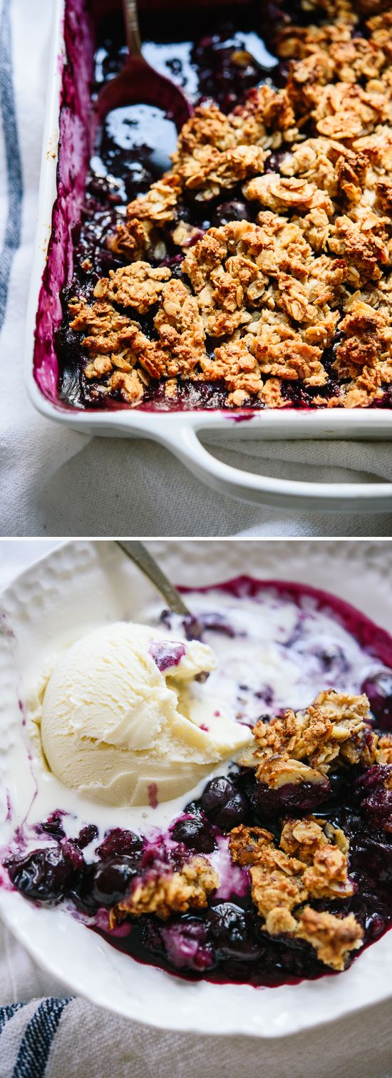 This blueberry almond crisp recipe is a simple summertime dessert! Gluten free.