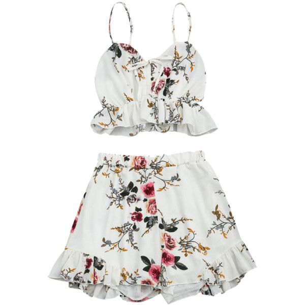 Shop for Floral Print Ruffled Cami Two Piece Set FLORAL: Two-Piece Outfits XL at ZAFUL. Only $14.49 and free shipping!
