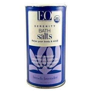 EO PRODUCTS Organic Bath Salts French Lavender 21.5 OZ by EO. $8.57. EO PRODUCTS Organic Bath Salts French Lavender 21.5 OZ. Pure essential oil blend soothes the body, eases tension and stimulates the senses. Solar and Epsom salts are mineral - rich and deeply soothing and detoxifying. No artificial color or synthetic fragrance. Our pure BathSalts combine Solar and Epsom salts with a unique blend of pure essential oils. Solar salts, evaporated from seawater, are rich in cal...