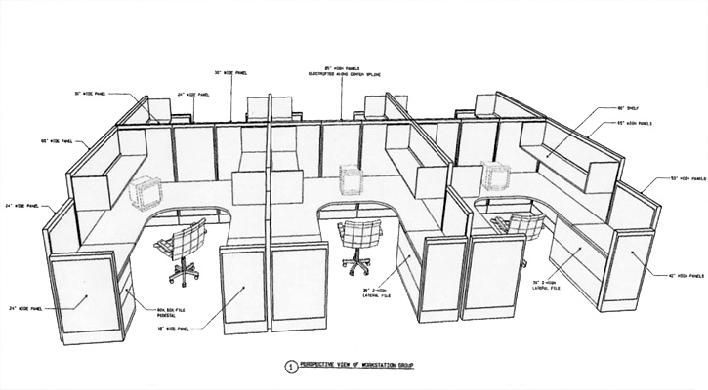 Cubicle layout plans space plans for Cubicle floor plan