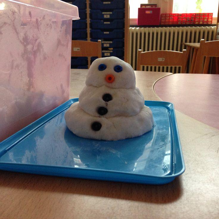 1 bus scheerschuim, 2 pakken fijne soda en wat glitters. Meng alles door elkaar en je hebt zelfgemaakte sneeuw om sneeuwballen of een mooie sneeuwpop mee te maken.