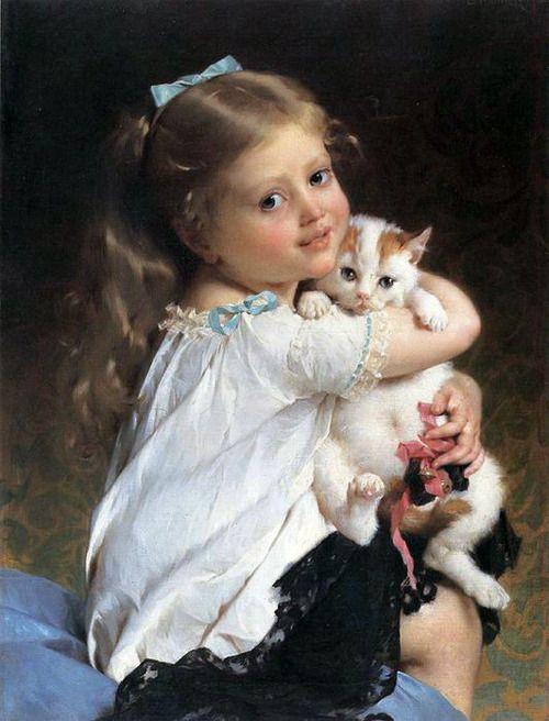 Emile Munier. Her Best Friend, 1882: Cats, Best Friends, Girl, Art, Children, Paintings, Emile Munier