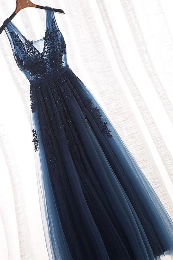 Tulle A-Line V-Neck Floor Length Long Prom Dress With Appliques PL295 2