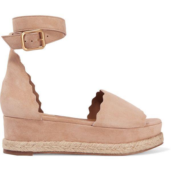Chloé Lauren suede espadrille platform sandals (23,755 DOP) ❤ liked on Polyvore featuring shoes, sandals, sand, slip on espadrilles, slip-on shoes, chloe shoes, suede slip on shoes and platform slip on shoes