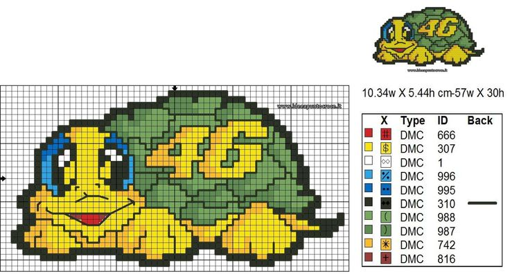 tartaruga valentino rossi altezza 30 punti schema punto croce