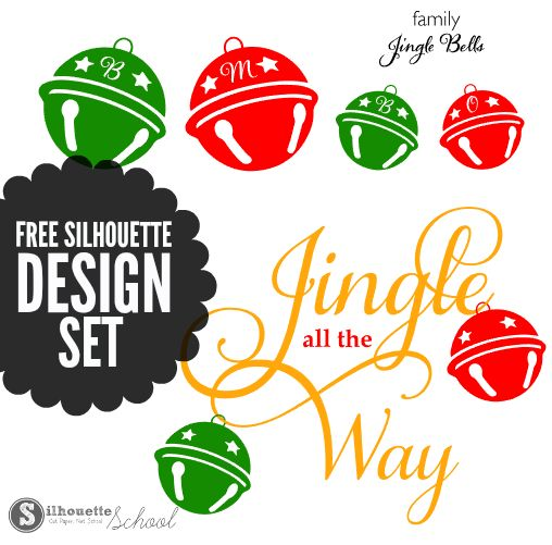 jingle bells, silhouette designs, free silhouette, silhouette cameo, silhouette studio files, silhouette cut files, christmas cut files