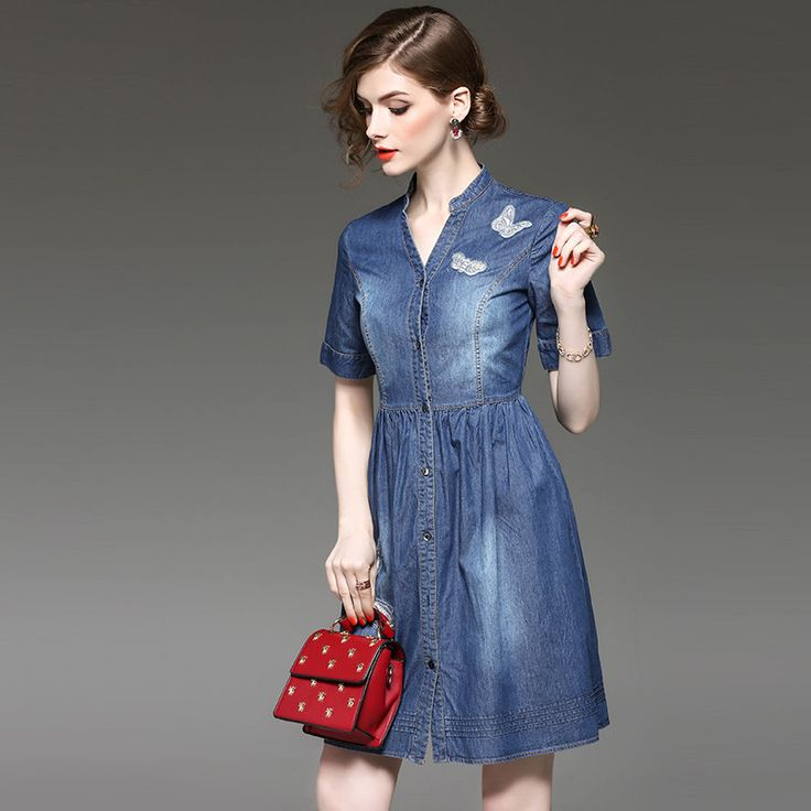 Woman denim ball gown butterfly embroidery applique cotton dress