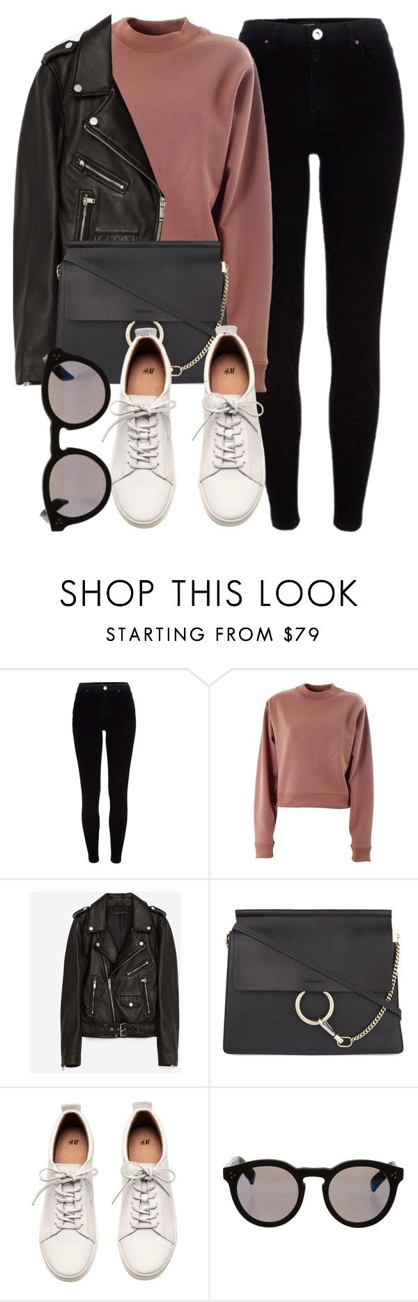 """Untitled #6331"" by laurenmboot ❤ liked on Polyvore featuring River Island, Acne Studios, Jakke, Chloé, H&M and Illesteva"