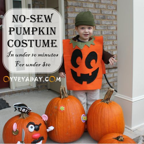 DIY Halloween: No-Sew Pumpkin Costume (in under 10 minutes for under $10). A great last-minute kid's Halloween costume from Oyveyaday.com: Halloween Costume Kids, Diy Kids Pumpkin Costume, Kid Halloween Costumes, Pumpkin Costume Diy Kids, Halloween Pumpkins, Halloween Costumes For Kids, Diy Pumpkin Costume Kids Boys, Pumpkin Costumes Kids Boy, Felt Kids Costumes