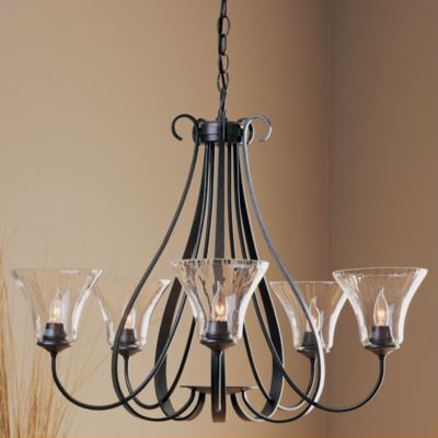 Sweeping Taper Five Arms Chandelier With Water Glass by Hubbardton Forge