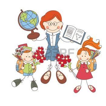 Imágenes libres  maestra caricatura: Ilustración de los niños y los maestros en la escuela en el fondo blanco