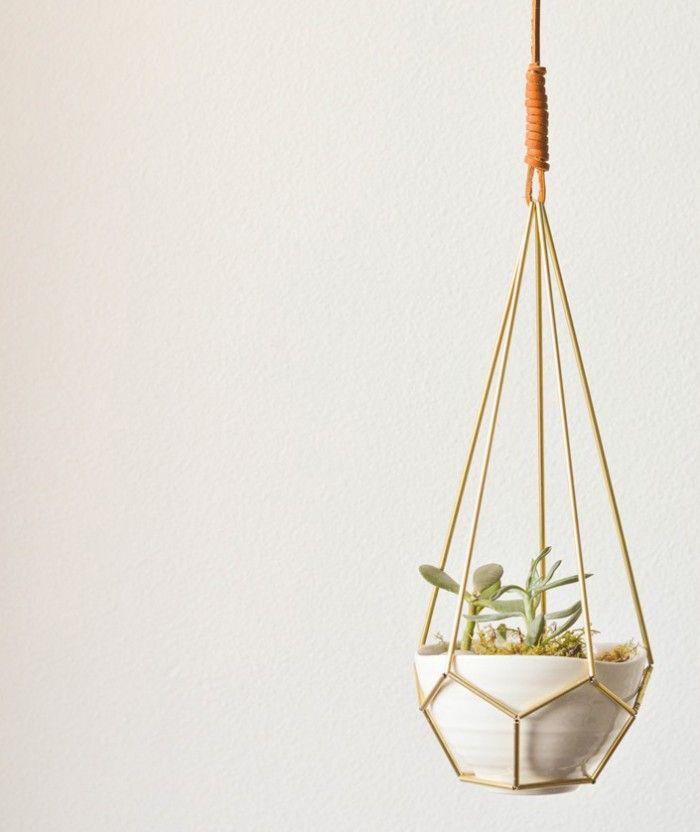 DIY Leather and Brass Teardrop Hanging Planter from Mandi Gubler/Vintage Revivals