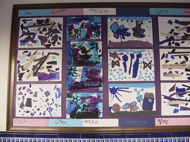 Mural de colors freds: Collage de P3; paper de seda envernissat i dibuix en negre de P4; pintures de colors freds de P5. Fixeu-vos en el marc de paraules de l'hivern! Molt bonic.