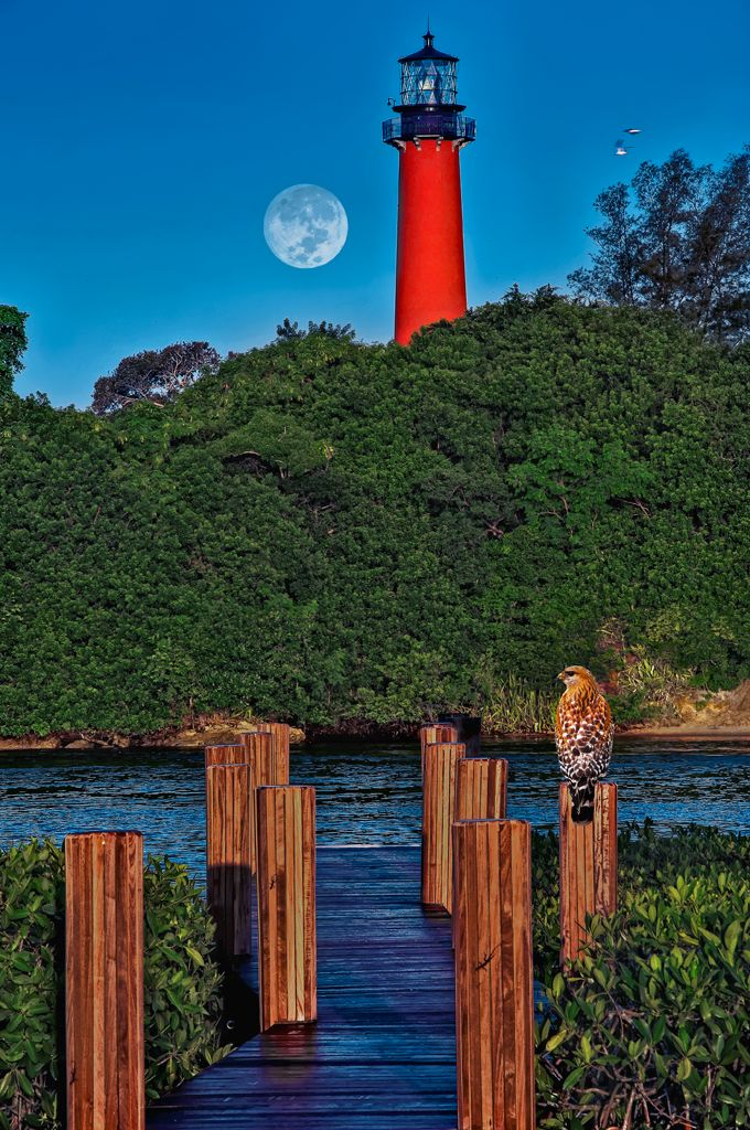Moonset at Jupiter Lighthouse, Jupiter, Florida. First lit in 1860, The Jupiter Inlet Light is located on the north side of the Jupiter Inlet between Cape Canaveral Light and Hillsboro Inlet Light. During the Civil War, blockade runners brought supplies to the Confederacy through the Jupiter Inlet, while the Union Navy tried to stop them.