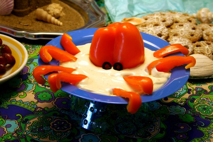 octopus dip for under the sea party food by dennas ideas