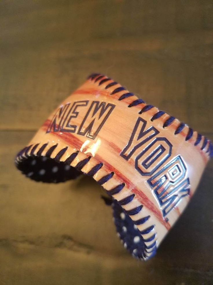 New York Yankees or New York Mets Baseball Cuff Bracelet by UniquelyNatalieDsign on Etsy