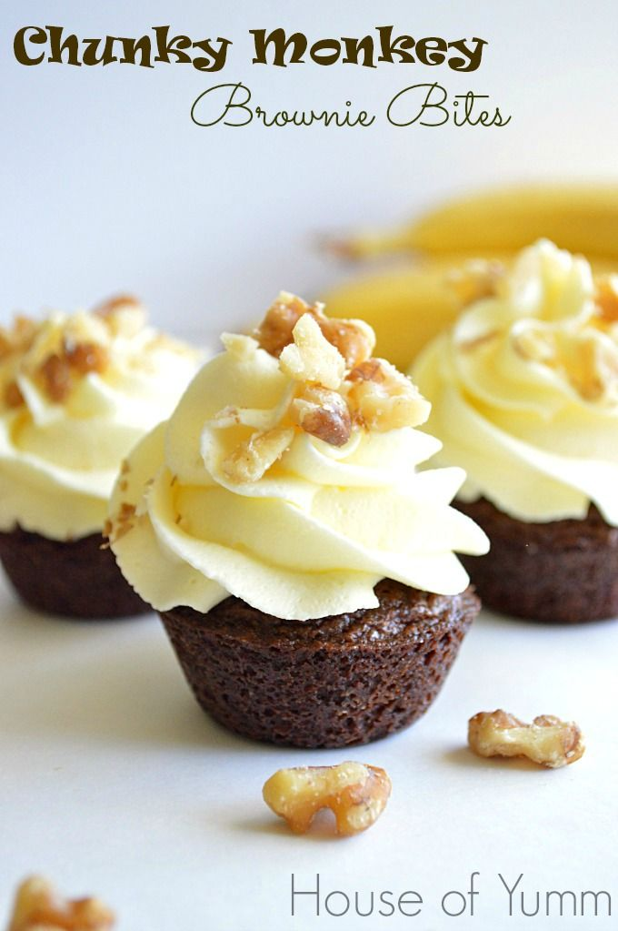 These Chunky Monkey Brownie Bites are topped with an easy to make banana mousse and crushed up walnuts.  Such a fun and easy treat that is sure to disappear just as quick as you can make them!