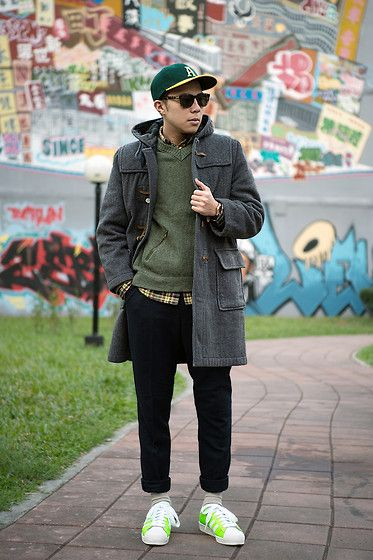 Get this look: http://lb.nu/look/7953442  More looks by PJ Chen: http://lb.nu/pj19821020  Items in this look:  Global Work Baseball Cap, Gloveroll Vintage Duffle Coat, Men's Club Vintage Sunglasses, United Colors Of Benetton Sweater, Uniqlo Trousers, Orient Watch, Adidas Sneakers